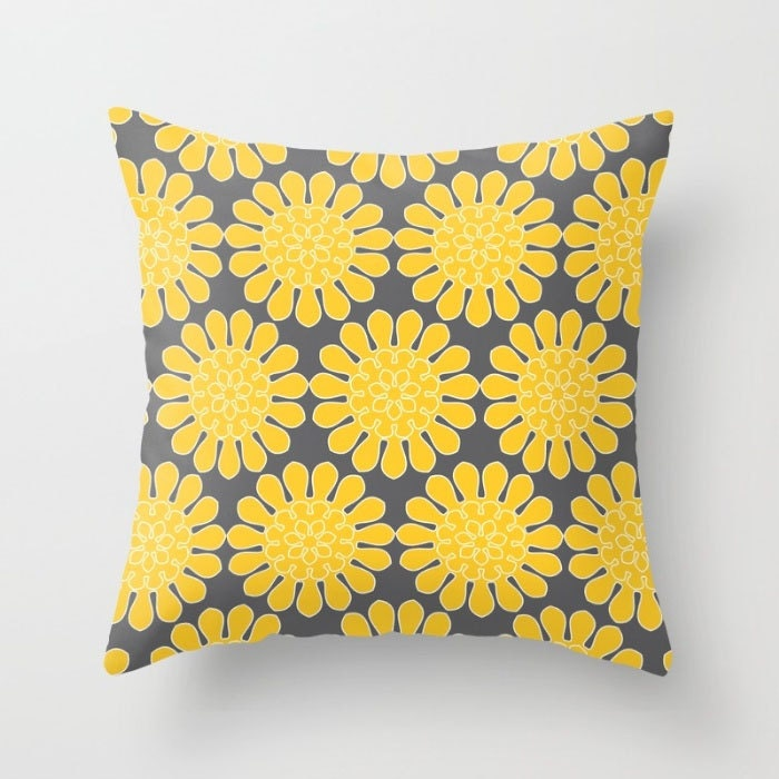 Flower throw pillows floral pattern in yellow purple peach