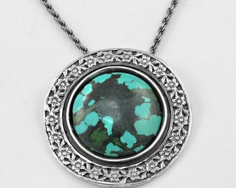 Turquoise Pendant Turquoise Necklace Natural Turquoise Sterling silver Necklace