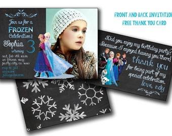 Frozen invitation, frozen birthday invitation  front/back invite Chalk Anna and Elsa party  Disney Princess  Girl Card decor Printable