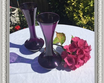 Pair of Dainty Vintage Coloured-glass Vases