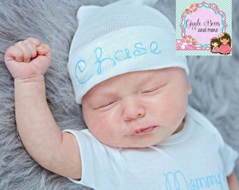 hospital hat,newborn boy hat, blue baby hat personalized baby gift, baby boy hat, newborn baby hat, personalized gift,baby hat,baby boy gift