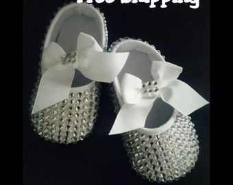 Crystal baby shoes, bling baby shoes, swarovski crystal ballet shoes, crystal ballet shoes, baby shoes