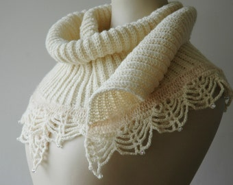 Beaded bridal shawl with a lacy edge, cream wool - ready to ship