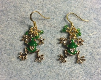 Green enamel and rhinestone frog charm earrings adorned with tiny green Chinese crystal beads.