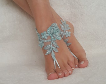 6 color barefoot beach wedding bridal accessories lace ankle bridesmaids gifts jewelry sandals shoes handmade woman embroidered bangles lace