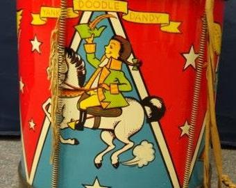 Vintage Toy Tin Patriotic Drum J. Chein American Eagle Yankee Doodle 1950s
