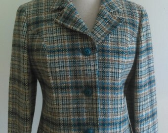 Vintage Pendleton Wool Blazer-Blue and tan plaid.
