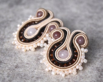 Brown Earrings / Soutache Earrings / Natural Stone Earrings / Jade Earrings / Gift for Mother / Beaded Earrings / Seed Bead Jewelry