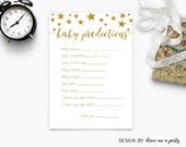 TWINKLE TWINKLE LITTLE Star Baby Shower Predictions , Gold Baby Predictions Card , Gold Baby Shower Games , Printable , Instant Download