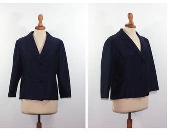 Vintage 50s blue jacket / late fifties iridescent jacket / sartorial made in italy