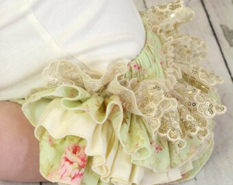 """Frilly Milly frilly ruffle nappy pants cover mint """"Scarborough Fair"""""""