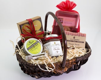 Chocolate & Flowers Gift Basket - Soap, Lip Balm, Cocoa Lotion Bar, Chocolate Creamed Honey, Flower Seeds, Beeswax Candles