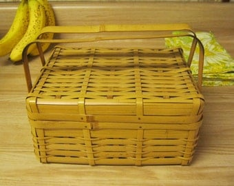 Bamboo Sewing Basket, perfect condition