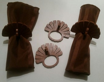 Wooden Turkey Napkin Rings Set of 4