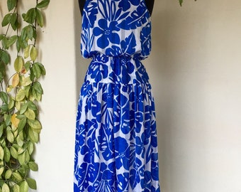 Tropical 80s dress sleeveless summer blue and white matisse pattern palm monsteria print vintage stripe