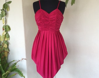 SALE! 70s fuschia pink red grecian tulip disco dress gathered ruched vintage polyester maroon cherry extra small