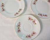 Vintage Floral Staffordshire Sutherland Dessert Plates, saucer -  lot of three
