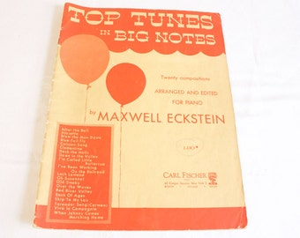 Vintage 1953 Top Tunes in Big Notes Music Book collectible