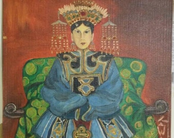 Mid-Century Asian Royalty Original Oil Painting on Board 1966