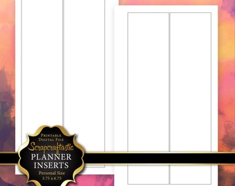 Blank Columns Printable Planner Insert Refill Personal Size