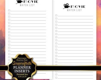 Movie Watch List Planner Insert | Personal Size Planner Filofax Kikki K ColorCrush (00229)