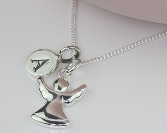 Solid Silver Guardian Angel Charm Necklace Personalised with a Solid Silver Stamped Initial Charm
