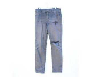 Genuinely Worn in + Distressed, Ripped, Fraying + Faded Black / Grey Grunge Cheap Monday Mens Jeans