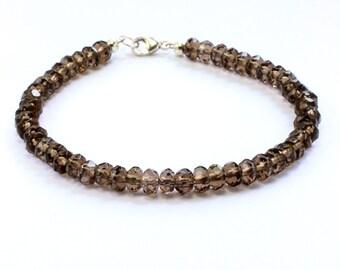 Smokey quartz bracelet;Gemstone bracelet;Beaded bracelet;Smokey quartz;Smoky;Friendship bracelet;Brown bracelet;Sterling silver;BFF gift;