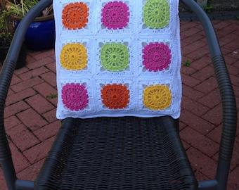 Crochet cushion/pillow cover. Granny square cushion/pillow cover. Wheely Cushion/Pillow Cover