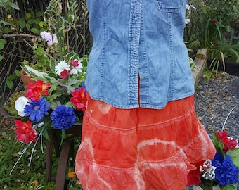 EEETie dyed skirt-Size small-Draw string in waist-Orange color-Decorated stitching-Hand made color-Altered couture-Concert-Teen fashion-Hip-