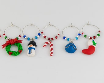 Christmas wine charms (6) - hand sculpted in polymer clay.