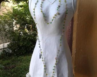 Long crochet crochet lariat necklace, vintage boho-chic, crystals and ceramics code 1002