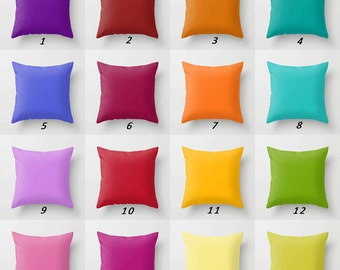Solid Pillows, Colorful Pillows, Purple Orange Red Yellow Green Solid Color Throw Pillow Covers, Mix and Match Pillows, Decorative Pillows