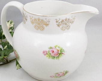 "Ceramic Milk Pitcher with Pink Roses and Gold Trim, 5 3/4"" Tall and 8"" Wide, Holds 48 Ounces"