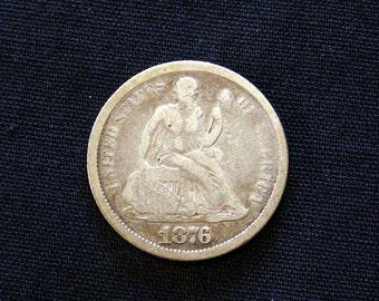 1876 CC Seated Liberty Dime  - VG -  1876    *10814B0*