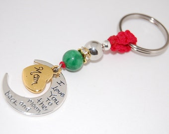 Mom Birthday,Mom keychain,Jade,Mom key chain,Mother's Day Gift,Gifts for Mom,i love you to the moon and back,Gold Heart,Handmade Keychain