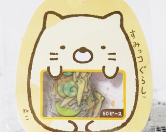Kawaii Japan Sticker Flakes - Sumikko Gurashi Cat (50 pieces for planners, scrapbooks etc)