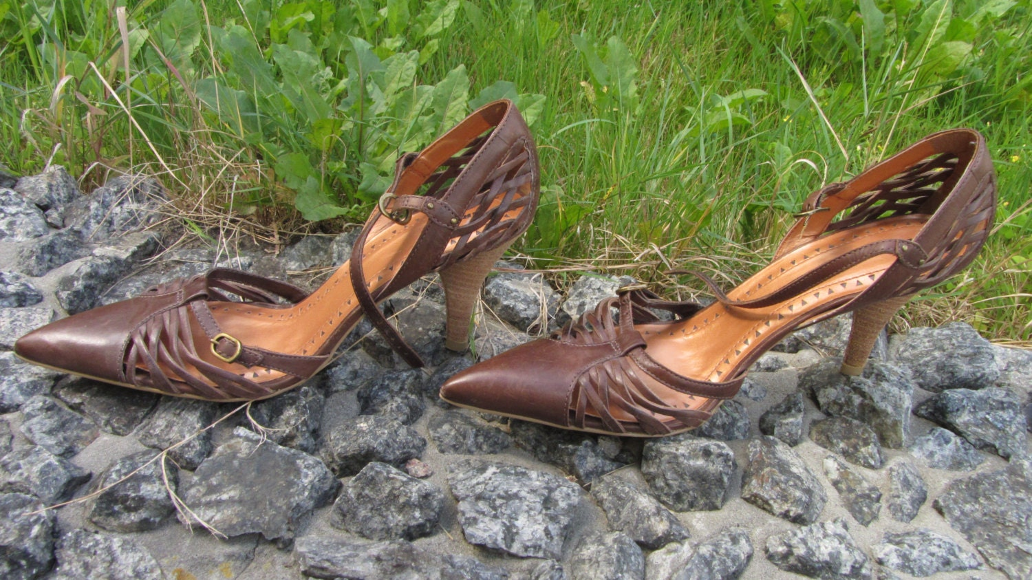 Brown Vintage Leather Hi Heels Shoes, Womens Hi heels 8-8.5 US Size Perfect For