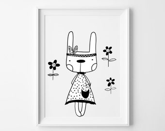 Rabbit, indian nursery art print, nursery wall art, nursery print, kids room print, monochrome print, baby girl room print