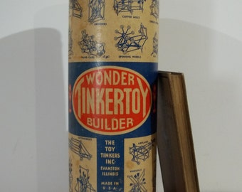 """Tinker Toy Wonder Builder EMPTY 11"""" Cardboard Container (NO Tinker Toys Inside)"""