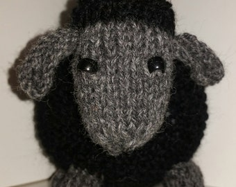 Hand knit woolen black sheep, Plush sheep toy, hand made, sheep, baby toy, wool