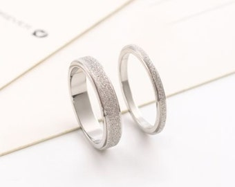 Silver Frosted Ring / Wedding Band (Thick 4mm band width)