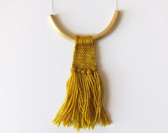 Chunky yellow tassel necklace - hand woven - textile jewelry - fiber tassel necklace - Warrior Necklace