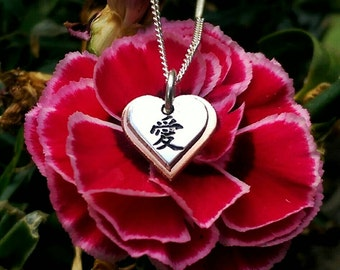 Sterling Silver and Rose Gold Plated Chinese Love Necklace ~ Gift For Girlfriend, Fiance, Wife