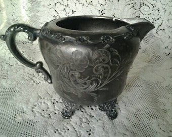 Shabby Antique Queen City Silver Co. Cream Pitcher