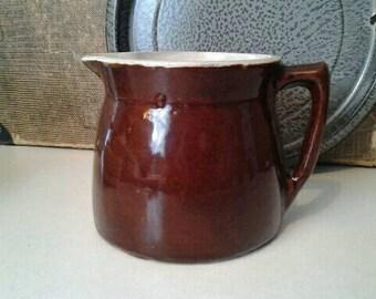 Shabby Antique Stoneware Farmhouse Pitcher