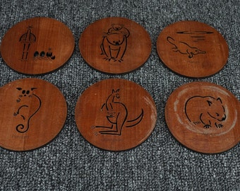 6 Vintage Wooden Coasters Of Animals