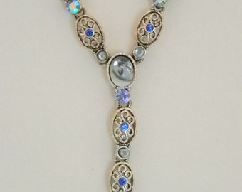 AVON Silver Tone Blue Filigree Y Necklace and Matching Pierced Lever Back Earrings