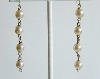 Cream Pearl Dangle Chain Pierced Earrings