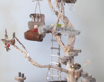 Winter Fairy Treehouse, Natural Dollhouse, Waldorf Toy